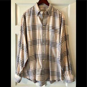 BURBERRY Classic Tan/Blue/Burgundy Plaid Shirt XL